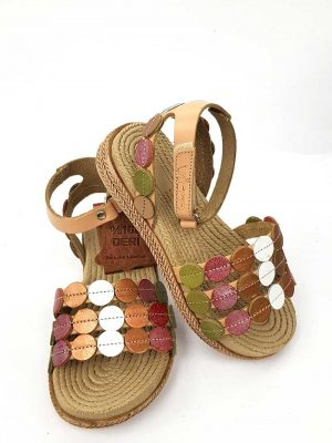 Vicco - Polka Dot Patterned Leather Sandals - Powder - Hanse shoes