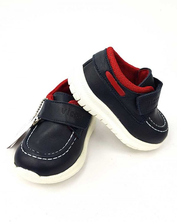 Vicco - Velcro Leather Shoes - Navy - Hanse shoes