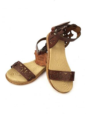 Swirl Pattern Leather Sandals - Brown - Hanse shoes