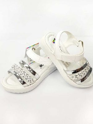 Braid Pattern Sandals - White - Hanse shoes