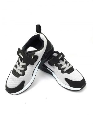 Lace-Up Velcro Sport Shoes - Gray/Black - Hanse shoes