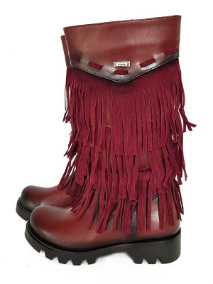 Leather Finge Boots-Red - Hanse shoes